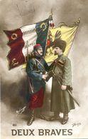 Militaria - Patriotique -  Drapeaux - Francais Et Serbe - Patriotic
