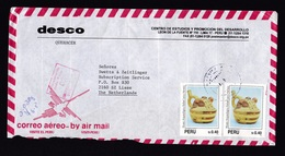 Peru: Airmail Cover To Netherlands, 5 Stamps, Archeology, Heritage, Folk Dance, Red Box Cancel (damaged, See Scan) - Peru
