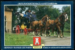 Nederland 1986 Ansichtkaart Grote Postkoetsentracé Groningen Naar Leiden - Netherlands