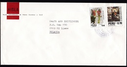 Peru: Cover To Netherlands, 1992, 2 Stamps, Flower, Orchid?, Christmas, Religious Painting, Rare Real Use (minor Crease) - Peru