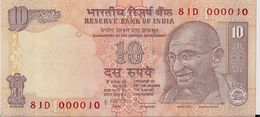 INDIA=N/D   10  RUPEES   P-89    UNC  Letter L Low Serial - India