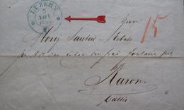 Lot FD/695 - LETTRE Du 3 NOV 1853 - CàD Bleu : LUZERN (SUISSE) TAXE MANUSCRITE 15 > PARON (SUISSE) - Marcophilie