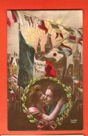 GBE-04  Honneur Et Patrie, Couple Militaire Et Son Amoureuse. Blasons Des Alliés..  Non Circulé - Patriottisch