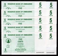 Zimbabwe 10 Pcs @ 5 Cent / 2006 / Pick 34 / UNC / AA Prefix / Bearer Cheque / Pre-100 Trillion Era - Zimbabwe