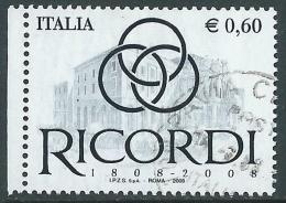 2008 ITALIA USATO RICORDI - ED-3 - 6. 1946-.. Repubblica
