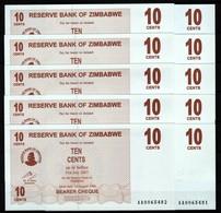 Zimbabwe 10 Pcs @ 10 Cents / 2006 / Pick 35 / UNC / AA Prefix / Bearer Cheque / Pre-100 Trillion Era - Zimbabwe