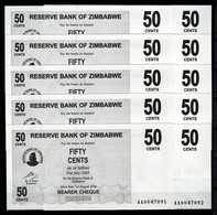 Zimbabwe 10 Pcs @ 50 Cents / 2006 / Pick 36 / UNC / AA Prefix / Bearer Cheque / Pre-100 Trillion Era - Zimbabwe