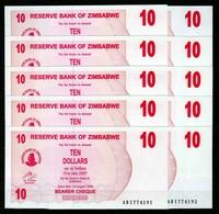 Zimbabwe 10 Pcs @ 10 Dollars / 2006 / Pick 39 / UNC / AB Prefix / Bearer Cheque / Pre-100 Trillion Era - Zimbabwe