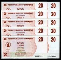 Zimbabwe 10 Pcs @ 20 Dollars / 2006 / Pick 39 / UNC / AA Prefix / Bearer Cheque / Pre-100 Trillion Era - Zimbabwe