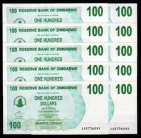 Zimbabwe 10 Pcs @ 100 Dollars / 2006 / Pick 42 / UNC / AA Prefix / Bearer Cheque / Pre-100 Trillion Era - Zimbabwe
