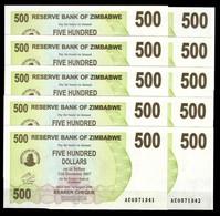 Zimbabwe 10 Pcs @ 500 Dollars / 2006 / Pick 43 / UNC / AC Prefix / Bearer Cheque / Pre-100 Trillion Era - Zimbabwe