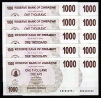 Zimbabwe 10 Pcs @ 1000 Dollars / 2006 / Pick 43 / UNC / AM Prefix / Bearer Cheque / Pre-100 Trillion Era - Zimbabwe