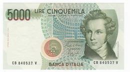 """Italy 5000 Lire """" Bellini """" 1988 BV. UNC. - [ 2] 1946-… : Républic"""