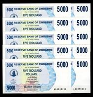 Zimbabwe 10 Pcs @ 5000 Dollars / 2006 / Pick 45 / UNC / AB Prefix / Bearer Cheque / Pre-100 Trillion Era - Zimbabwe