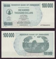 Zimbabwe 100,000 Dollars / 2006 / Pick 48a / UNC / AV Prefix / Bearer Cheque / Pre-100 Trillion Era - Zimbabwe