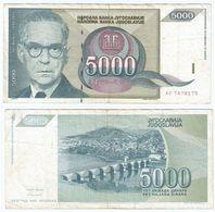 Yugoslavia 5.000 Dinara 1992 Pick 115 Ref 1499 - Yugoslavia