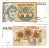 Yugoslavia 100.000 Dinara 1993 Pick 118 Ref 1500 - Yugoslavia