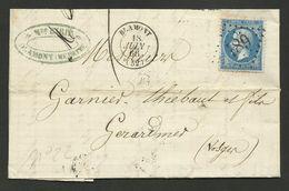 MEURTHE ET MOSELLE / G.C. 489 / BLAMONT 18.06.1866 LAC Pour GERARDMER / Bureau De Passe 2598 Au Verso - 1849-1876: Période Classique