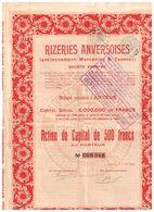 Action Ancienne - Rizeries Anversoises - Titre De 1928 - - Industrie