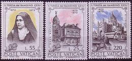 Vatican, 1973, Mi 618 - 620. 100th Birthday Of Saint Teresa Of The Child Jesus. Lisieux Basilica., MNH ** - Christentum