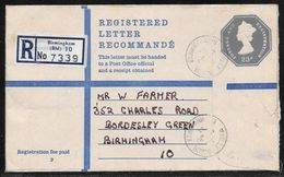 Great Britain - 23p Registered Stationery Encelope - G Size - Used Birmingham 1973 - Entiers Postaux