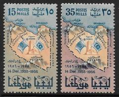 Libya, Scott # 173-4 Mint Hinged Map. Flags, 1956 - Libya