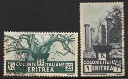 Eritrea, Scott # 162, 164 Used Baobab Tree, Temple Ruins, 1934 - Eritrea