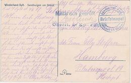 GERMANY 1917 (2.6.) PICT.PC SYLT USED FIELDPOST (List) CENSOR ! TO HAMBURG - Otros