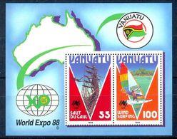 A23- Vanuatu Land Diving And 100v Wind Surfing Se-tenant Pair Tourism World Expo '88 Souvenir Sheet. - Vanuatu (1980-...)
