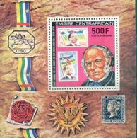 A66- Central Africa. Stamp On Stamp. Famous People. 100 Anv Sir Rowland Hill. Stamp On Stamps. - Central African Republic