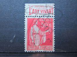 """VEND BEAU TIMBRE DE FRANCE N° 283 , TYPE I + BANDE PUBLICITAIRE """" ART VIVANT """" !!! (s) - Publicités"""