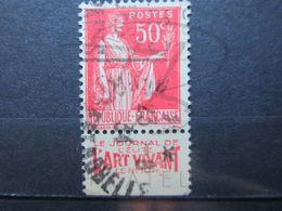"""VEND BEAU TIMBRE DE FRANCE N° 283 , TYPE I + BANDE PUBLICITAIRE """" ART VIVANT """" !!! (ah) - Publicités"""