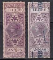 3as (Three Annas) Shades,  British India QV Foreign Bill Used,, Fiscal, Revenue, As Scan - 1858-79 Kolonie Van De Kroon
