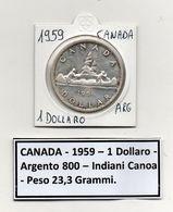Canada - 1959 - 1 Dollaro - Indiani In Canoa - Argento - (MW1105) - Canada