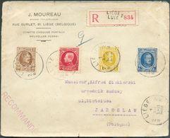N°203-205/206-212 Obl. Sc LIEGE 2 Sur Enveloppe Recommandée Du 1-XII-1933 Vers La Pologne. - B - 12540 - 1922-1927 Houyoux