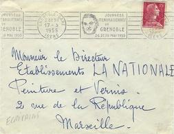 """1955- Enveloppe Affr. 15 F. Oblit. R B V ILLUSTREE De Grenoble """" Journées STENDHALIENNES De Grenoble ..."""" - Storia Postale"""