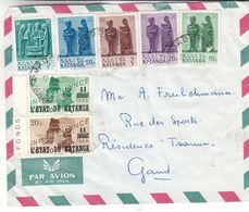 Katanga - Lettre De 1962 ° - Oblit Jadotville - Exp Vers Gand - Statues - Carte Du Congo - Katanga