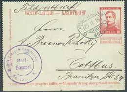 E.P. Carte-lettre Avant I 10c. Pellens, Annulé Par Le Cachet Allemand FELDPOST STATION Du 25-11-1916 Vers Cottbus.- Ex-C - Postcards [1909-34]
