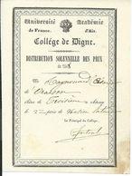 Distribution Solennelle Des Prix De 1848, Collège De DIGNE (04), Académie D'AIX, Université De France - Diploma & School Reports