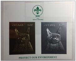 Guyana  1993  Owl Birds 2v Sheet Gold & Silver Scouts   Mnh - Vogels