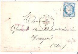 Cher :- BOURGES Convoyeur Station Ligne SAIN.V.au Dos Bureau De Passe 4201 De VIERZON - Postmark Collection (Covers)