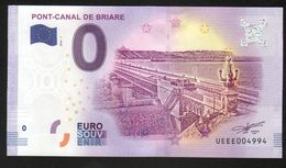 France - Billet Touristique 0 Euro 2018 N°4994 (UEEE004994/5000) - PONT-CANAL DE BRIARE, Palindrome - Private Proofs / Unofficial