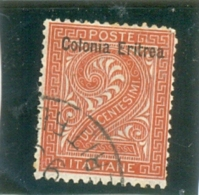 1893 ERYTHREE N° 2 ( O ) Timbre D' Italie Surchargé - Eritrea