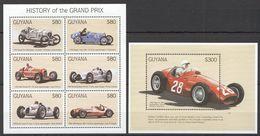 C361 GUYANA AUTO RACING CARS HISTORY OF THE GRAND PRIX 1B+1BL MNH - Autos