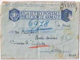 Biglietto Postale F.A.  PM14->Poincicco Di Zoppola ( Pordenone) Viaggiata 8/1943 - No Bollo - Posta Militare (PM)