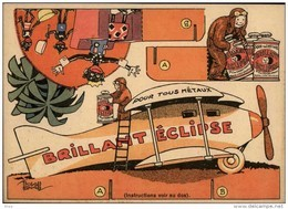PUBLICITES -  Carte à Découper - CREME ECLIPSE - Cirage - Illustrée Par EDOUARD BERNARD - Avion - Publicités