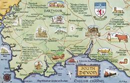Postcard Map Of South Devon By Salmon My Ref  B11927 - Maps
