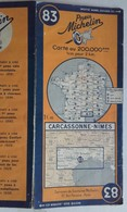 CARTE GÉOGRAPHIQUE Michelin - N° 83 CARCASSONNE - NIMES - 1942 - Strassenkarten