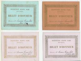 12  Billets D'Honneur  De 1922à 1926 Institution Jeanne D'Arc  EPINAL (voir Scans Et Description) - Diplômes & Bulletins Scolaires