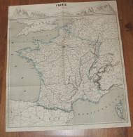GRANDE CARTE XIXème De La France (vers 1830) - Limites Coloriées  58 X 65 Cm - Other Collections